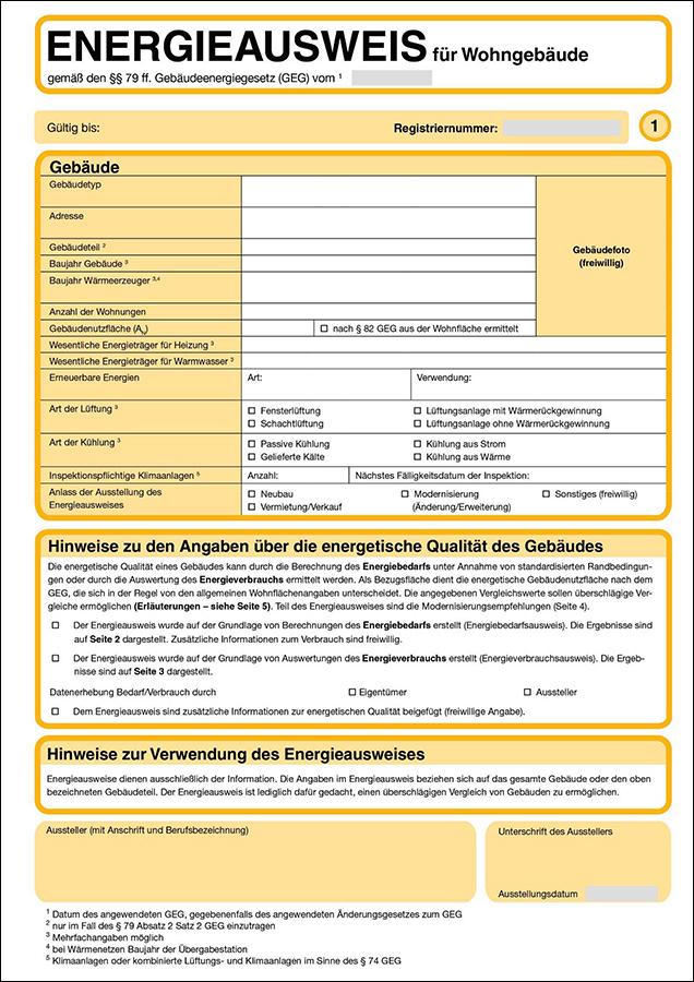 Energieausweis für Wohngebäude: Wesentliche Energieträger, Baujahr Gebäude, Art der Lüftung, Kühlung.